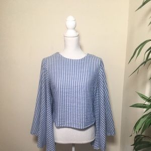 Boohoo Lovely. Big Sleeve Blue White stripe Blouse